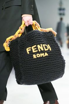 Fendi Menswear Fall Winter 2020 Milan – Purses And Handbags Totes Fendi, Tote Handbags, Purses And Handbags, Cheap Handbags, Cheap Bags, Potli Bags, Knitted Bags, Crochet Fashion, Handmade Bags