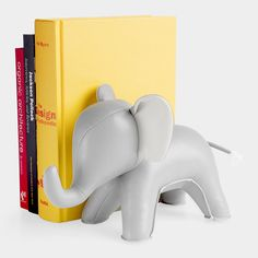 perfect addition to any nursery!  Elephant Bookend  With its simple and fun style, this gray Elephant Bookend is the perfect size and weight to hold most items in place. Use it on bookshelves, desktops, and even as a doorstop.