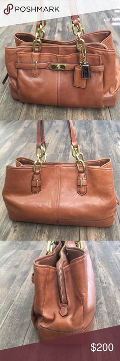 Soft Leather Coach Satchel Coach Cognac colored soft leather satchel. Normal wear. Coach Bags Satchels