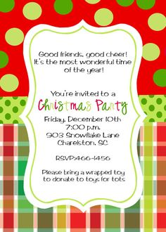 christmas party invitation by stickerchic on etsy - Christmas Party Invitations Templates