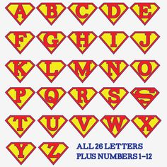 For a banner! Superman alphabet letters and numbers - make a super hero birthday party banner, front door decoration, birthday iron-on t-shirt, whatever you wish! Superman Birthday Party, 1st Birthday Parties, Boy Birthday, Birthday Door, Super Hero Birthday, Alphabet Birthday, Birthday Ideas, Vintage Birthday, 1st Birthdays