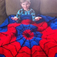 Spiderman crochet blanket for my Spidey fan.