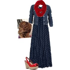 "#Modest doesn't mean frumpy. #DressingWithDignity www.ColleenHammond.com  ""Red and blue! Read disc."" by kahall53199 on Polyvore"