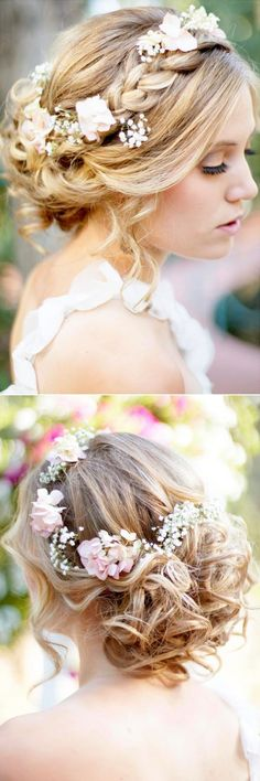 braided updo wedding hairestyles decorated with pink flowers