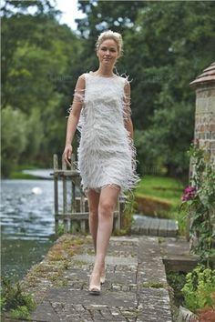 Fourreau Col Bateau Court/Mini Tulle Robe de Mariée