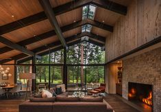 Lot C Architecture was responsible the remodel of this beautiful mid-century home located on the north shore of Lake Tahoe, California. Modern Lake House, Modern Barn, Modern House Design, Mid-century Modern, Modern Homes, Rustic Modern, Future House, Mid Century House, Mid Century Ranch