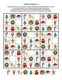Christmas Sudoku Puzzles - Gift of Curiosity Christmas Worksheets, Christmas Math, Christmas Activities For Kids, Math For Kids, Puzzles For Kids, Book Activities, Christmas Printables, Logic Problems, English Worksheets For Kids