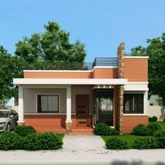 Rommell is a one storey modern house with roof deck that can be built in a lot with sq. Ideal for entertaining Rommell is an interesting design with its corner glass architectural fea… House Roof Design, House Design Photos, Small House Design, Modern House Design, Deck Design, One Storey House, 2 Storey House Design, Bungalow Haus Design, Modern Bungalow