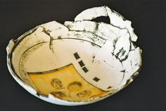 Large bowl and lino print by Fred Croft