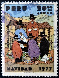 1977 nativity postage stamp - Peru