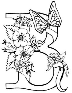 letter b butterfly and flower near the coloring for kids free adult coloring pagescoloring