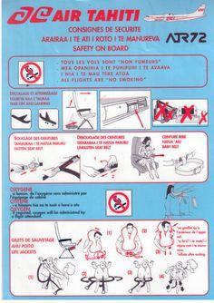 Air Tahiti ATR 72 safety card No Smoking, Air Tahiti, Domestic Airlines, Atr 72, Safety Instructions, Pacific Ocean, Airplane, Concrete, Jet