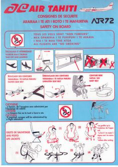 Air Tahiti ATR 72 safety card