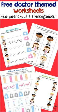 Free worksheets for kids with a doctor theme. Learn about Healthcare options and ---CLICK MORE PICTURE--- Doctor Theme Preschool, Body Preschool, Preschool Learning Activities, Free Preschool, Preschool Printables, Preschool Lessons, Kindergarten Worksheets, Free Printables, Preschool Kindergarten