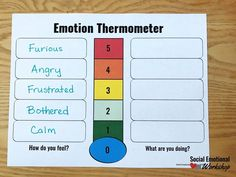 A Feelings Thermometer is the Ultimate Counseling Tool - Social Emotional Workshop School Counselor Office, Counseling Office, Feelings Chart, Feelings Words, Charts For Kids, Social Emotional Learning, Emotional Intelligence, Cbt, Classroom Ideas