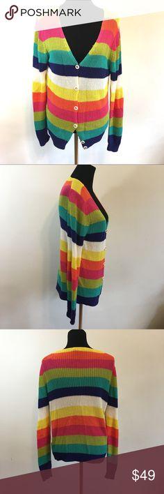 Trina Turk striped Knit cardigan Trina Turk striped Knit cardigan , size Large, good condition, super cute color scheme! Trina Turk Sweaters Cardigans