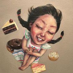 Happiness😁🍩🍰🍫 #zerogravity #sugarhigh #sweettoothfairy #blackforestcake #chocolateglazeddonut #lemonmeringuetart #strawberryripplecheesecake #selfportrait #happiness #nzart #tinypainting #acryliconcanvas #fineart #instaart #popsurrealism #newcontemporary #lowbrow #lowbrowart #beautifulbizarre @beautifulbizarremagazine #joonheepark Lemon Meringue Tart, Nz Art, Black Forest Cake, Lowbrow Art, Pop Surrealism, Tooth Fairy, Insta Art, Brows, Happiness