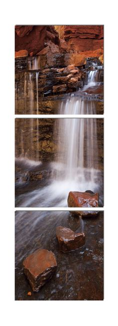 A red rock waterfall is the ultimate in masculinity - perfect for your bachelor pad. $200 Available in 3 sizes. Elementem Photography, triptych, home decor, photo prints on wood, rocks, water, waterfall, National Park, landscape, red, orange, nature