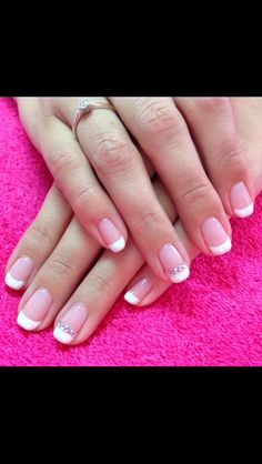 Pink French gel manicure with white rhinestone design by Simply Beauty by Toni Http://www.simplybeautybytoni.co.uk