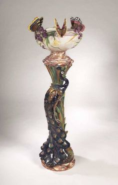A Delphin Massier Faience Jardiniere On Stand : Lot 159