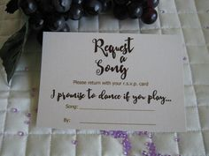 Wine & Chocolate Rustic Vineyard Collection – 'Request a song' card  created by Above & Beyond – Custom Events & Stationery