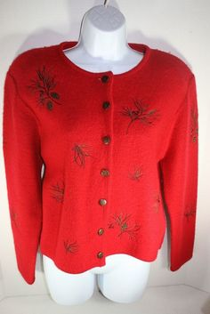 Susan Bristol Knitted Holiday Country Women's Sweater (1997) Pine Cones & Berry  #SusanBristol #Cropped
