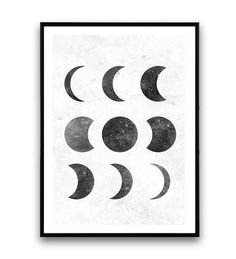 moon phase print black and white Lunar phases art por Wallzilla