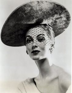 """Carmen is wearing a hat called 'The way you look tonight' from milliner Mr. John's """"Lucky in Love"""" collection for fall and winter, 1953 Carmen Dell'orefice, Mode Vintage, Vintage Vogue, Vintage Fashion, Vintage Hats, 1930s Fashion, Vintage Purses, Victorian Fashion, Vintage Glam"""