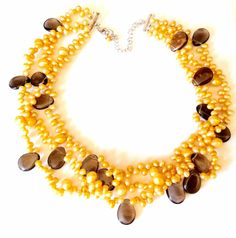 Pearl Necklace- Three Strand Pearl Necklace - Cultured Yellow Pearl Necklace - Pearls And Smokey Quartz Necklace - Wedding Neclace - Gift by KarynJamieDesigns on Etsy Handmade Shop, Etsy Handmade, Handmade Items, Handmade Jewelry, Quartz Necklace, Pearl Necklace, Beaded Necklace, Yellow Pearl, Smokey Quartz