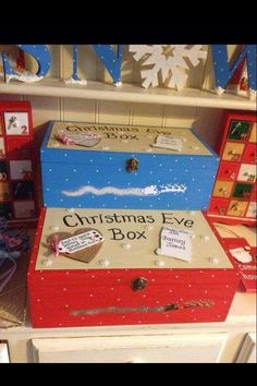 clever idea for how to decorate your Christmas Eve box! If you fancy decorating one yourself. Christmas Eve Box For Kids, Christmas Fayre Ideas, Night Before Christmas Box, Xmas Eve Boxes, Christmas Arts And Crafts, Childrens Christmas, Christmas Makes, Christmas Inspiration, Christmas Traditions