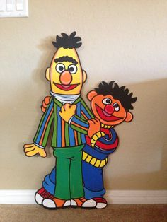 Bert and Ernie  painted Sesame Street Character Party Prop
