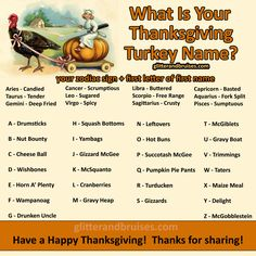What Is Your Thanksgiving Turkey Name?   LIKE Glitter & Bruises on Facebook for immediate access to THE GOOD STUFF:  https://www.facebook.com/glitterandbruisesdotcom