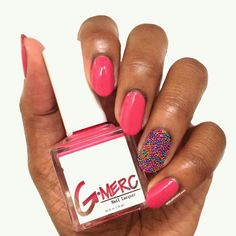 Schoolin' Life pink creme vegan 5-free nail polish by G-Merc. Ciate caviar accent nail. Swatch by @WhatOneGirlLoves via Instagram