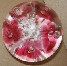SIGNED JOE RICE Sublime GLASS Paperweight CRANBERRY Rose FLOWERS Very BEAUTIFUL