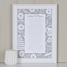 'A Letter To Mum' Poem Grey