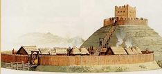 "Motte and bailey castle such as was built in York in 1068 and how I picture the ""tower"" in Rogue Knight"
