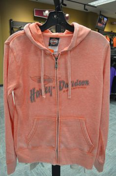 Fall 2013, women's vintage orange super-soft Harley Davidson zip up hoodie.