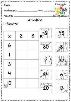 Printables Worksheets For Kids Referral: 6090045506 Teaching Multiplication, Teaching Math, Math Worksheets, Math Activities, Math Sheets, Simple Math, Writing Numbers, 4th Grade Math, Homeschool Math