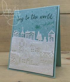Village of Joy | Stampin\' Up! | Hearts Come Home #literallymyjoy #houses #church #village #glitter #snow #santa #reindeer #joytotheworld #joy #ChristmasAroundTheWorldDSP #2017HolidayCatalog #20172018AnnualCatalog