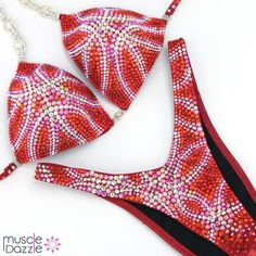❤️💕 Another figure suit from our 2020 collection... a gorgeous pattern of pinky red crystals on red fabric. Lets work together to create your perfect look for the stage! 😍 More info and pics at: muscledazzle.com/fs579 Holographic Fabric, White Spandex, Figure Competition Suits, Figure Suits, Orange Crystals, Suits For Sale, Women Figure, Red Fabric, Spandex Fabric