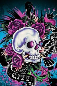 Ed Hardy Designs, Sugar Skull Girl, Skull Pictures, Traditional Japanese Tattoos, Skull Illustration, Skull Wallpaper, Airbrush Art, Funny Tattoos, Henna Patterns