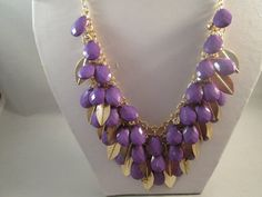 3 Row Bib Necklace with Purple Teardrop Beads and by maryannsway on etsy