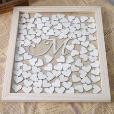 Custom Initial Letter Wedding Guest Book Rustic Wood Personalized Guest Book Drop Box with Hearts Frame for Bridal Shower