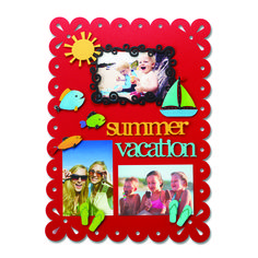 Create your own Memo Board with magnetic frames and embellishments. Change out colorful magnets and favorite photos for unique year round displays. Summer, Vacation, Sailboat and Fish Magnets from Embellish Your Story by Roeda.