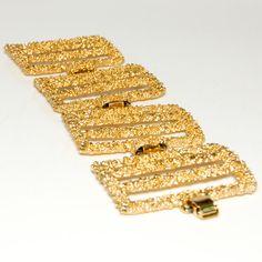 Vintage Signed Napier Large Rectangular Textured Link Bracelet in Gold Tone Sparkling Granules Segmented Links via Etsy