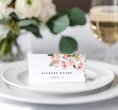 Wedding Place Card Template, Blush Wedding, Elegant Garden Wedding
