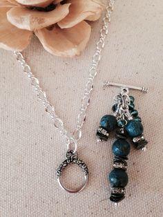 Turquoise and Black Jasper Beaded Dangle Necklace Charm Necklaces, Beaded Necklaces, Beaded Earrings, Beaded Jewelry, Pendant Necklace, Necklace Ideas, Jewelry Ideas, Diy Jewelry, Handmade Jewelry