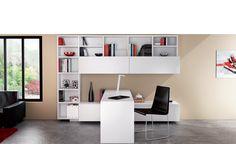 Meuble Bureau modulaire - Johannesburg. Un meuble sur mesure à la modularité exemplaire : habillage à volonté d'étagères, casiers, portes coulissantes ; plan de bureau en équerre ou parallèle et configuration variable de l'ensemble.