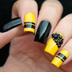 Easy Yellow and Black Nail Art picture 1