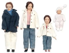 4 Piece Porcelain Doll Family